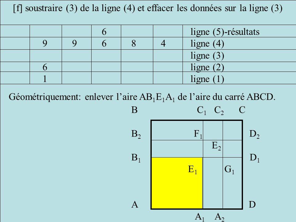 [f] soustraire (3) de la ligne (4) et effacer les données sur la ligne (3)